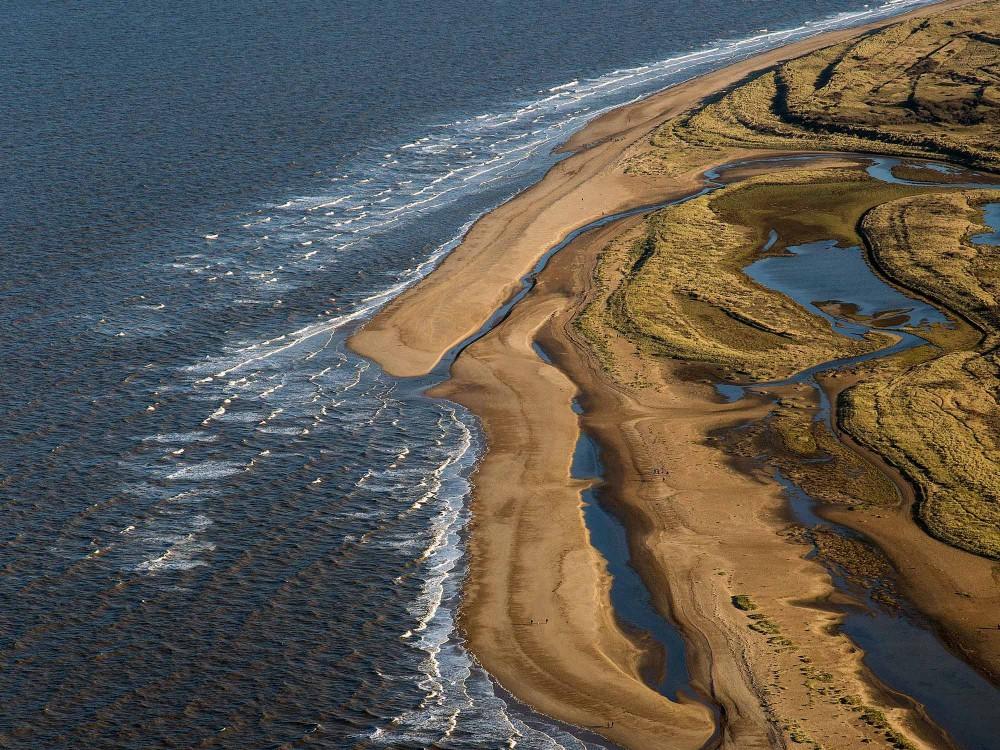 Aerial shot of Holme coastline