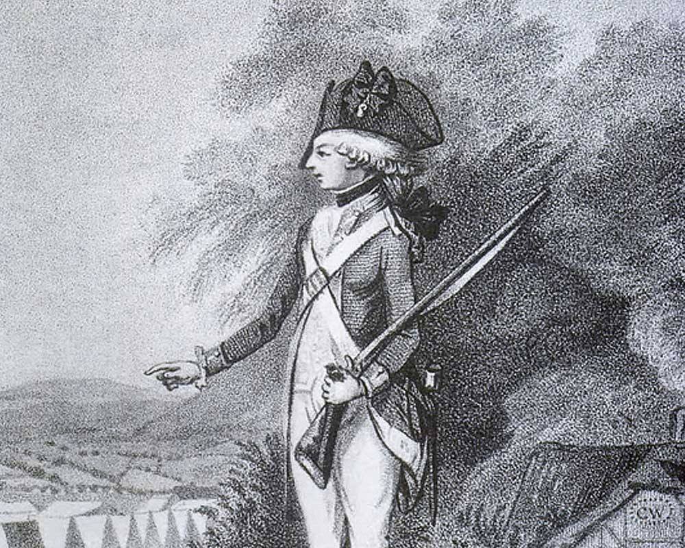 A rare engraving of the young Charlotte Atkyns (then Walpole) dressed as a male soldier in a 1788 theatrical production