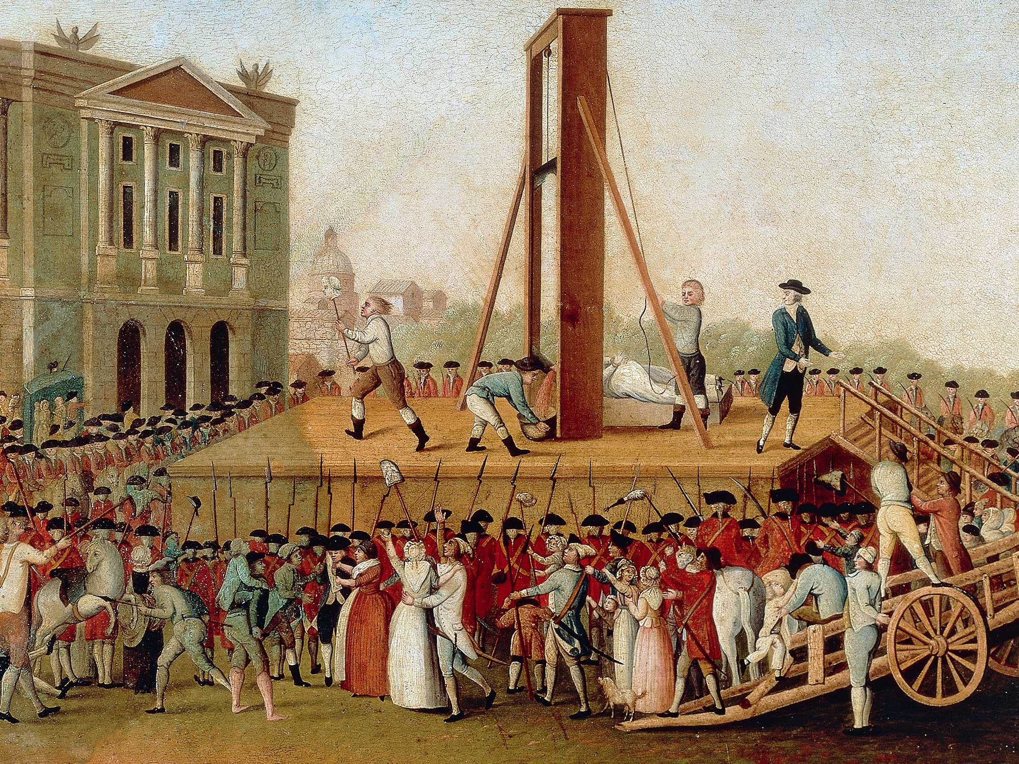 A contemporary painting of the execution of Marie Antoinette on October 16th 1793