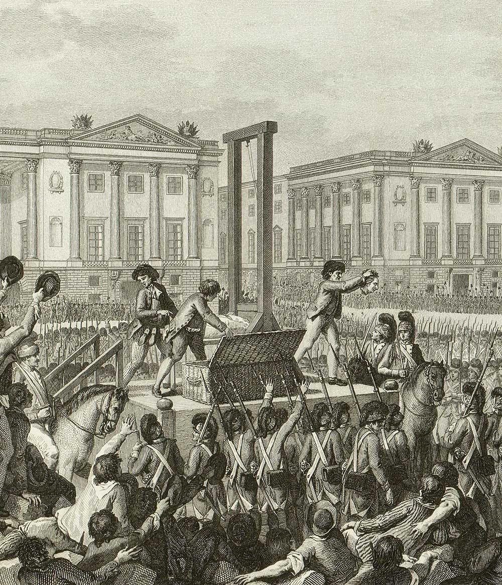 The execution of Louis XVI on 21st January 1793 at the Place de la Révolution (today's Place de la Concorde)