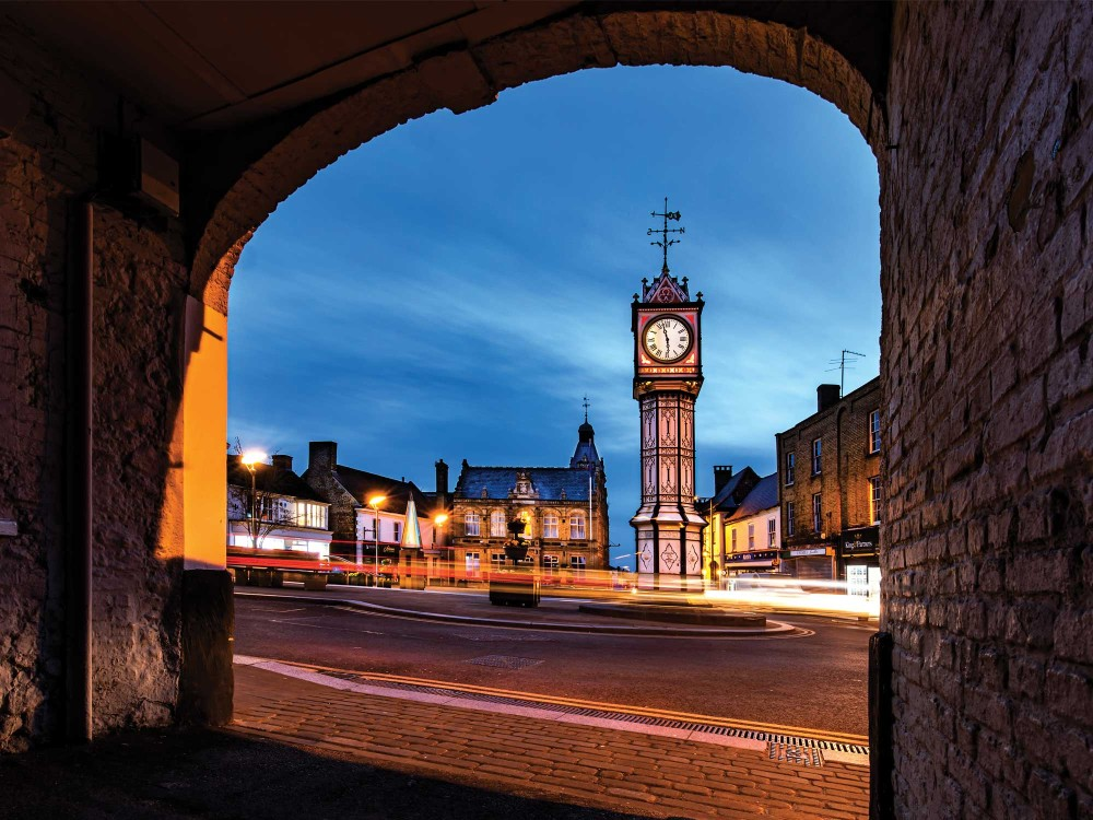 Downham Town Clock Tower at night