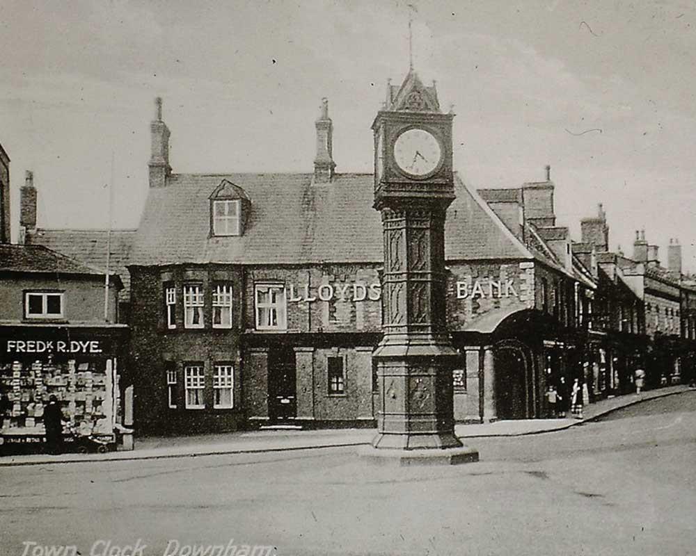 Old photo of Downham Market Clock Tower