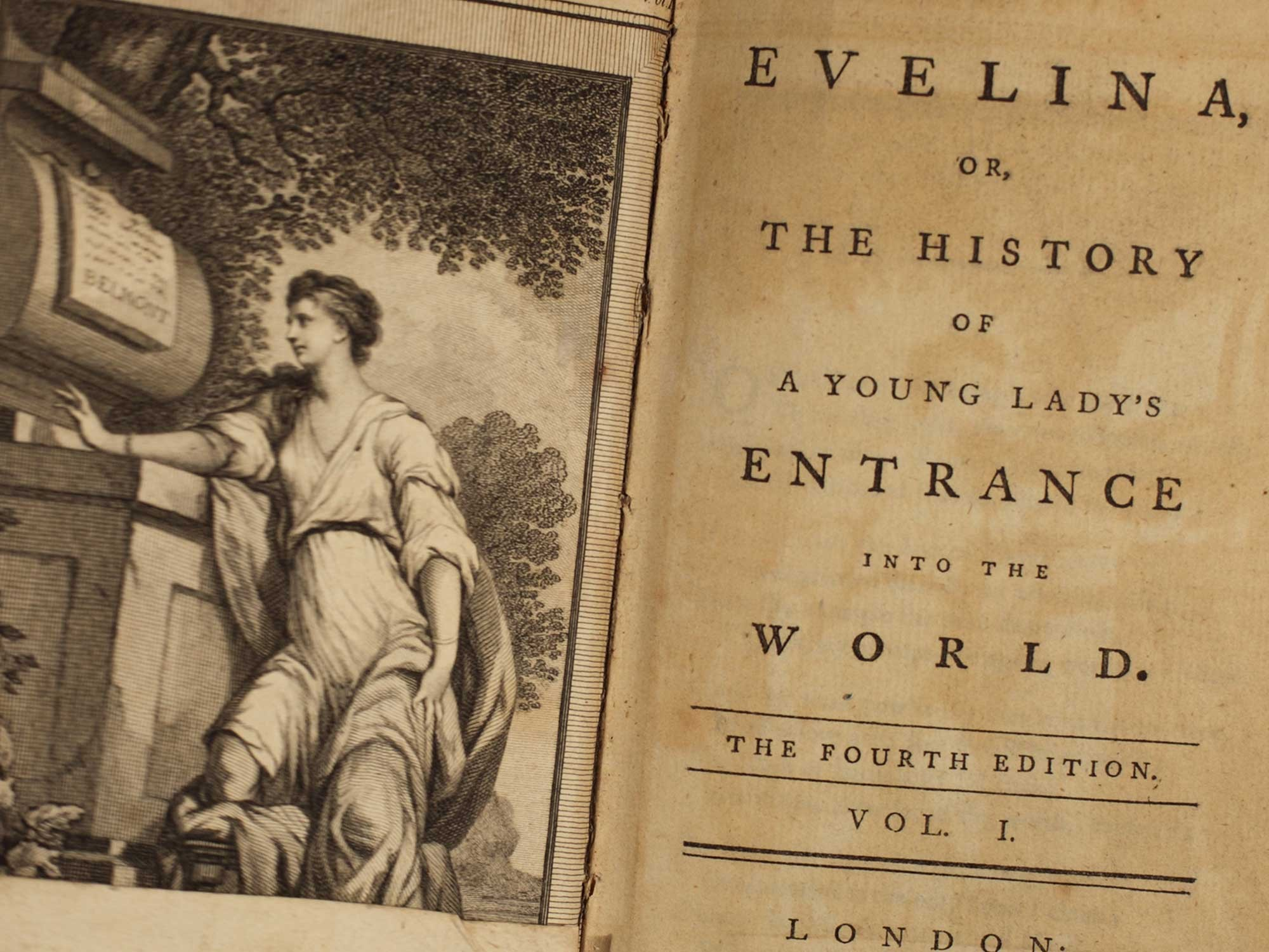 The title page from the first edition of Fanny Burney's book Evelina