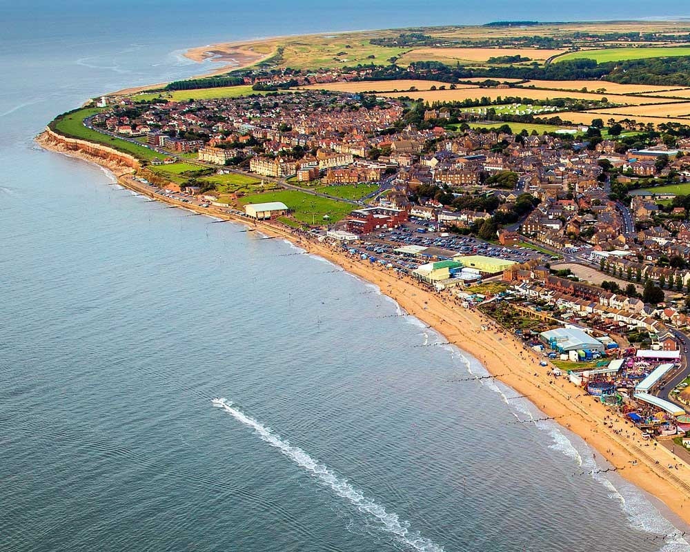 An aerial view of the bustling modern resort of Hunstanton
