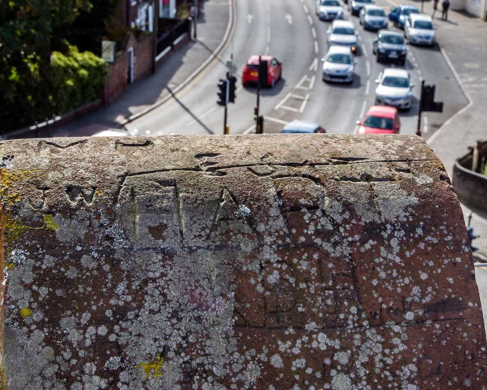 A solider's inscription overlooking London Road in King's Lynn