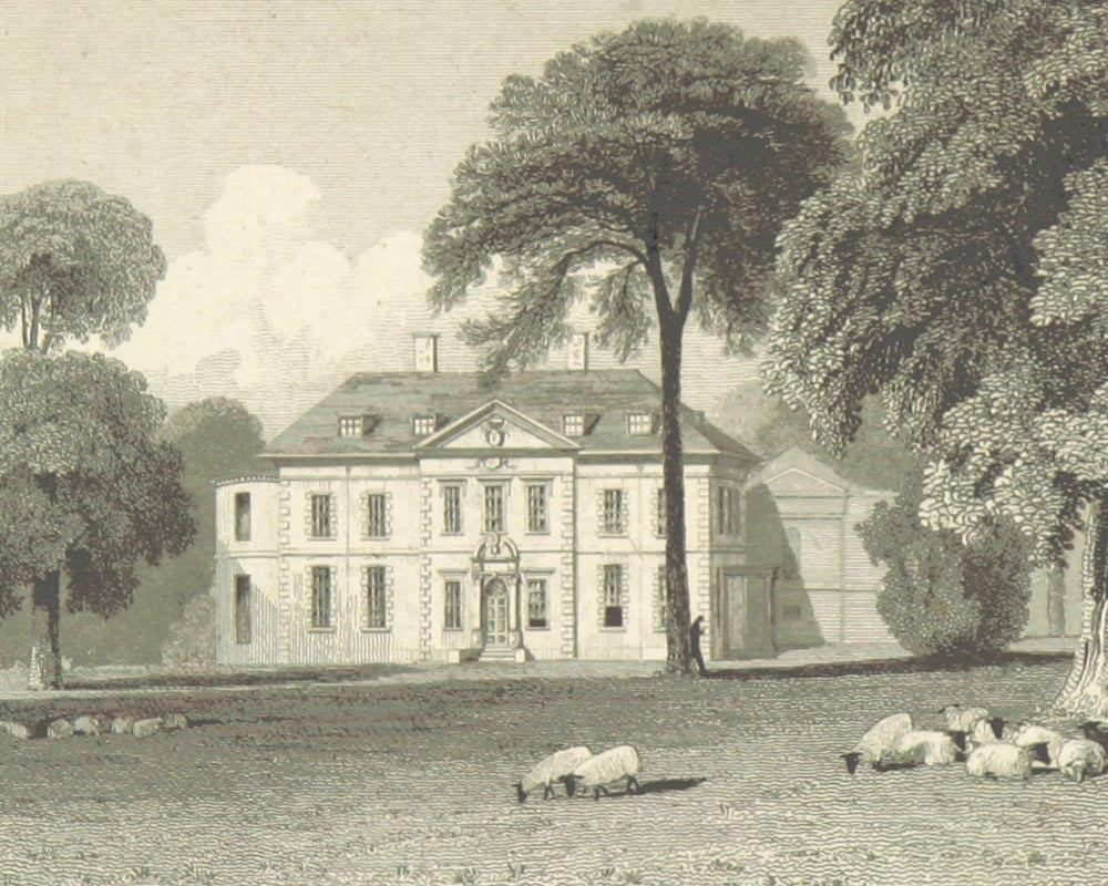Engraving of Narford Hall produced in 1818 based on a drawing by John Preston Neale