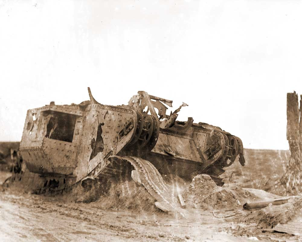 Olive Edis took this photograph of a destroyed tank on the Menin Road in Belgium at the end of the First World War