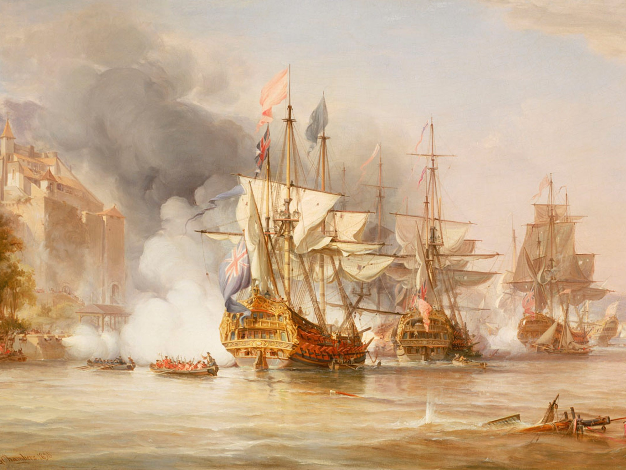 Painting of the capture of Puerto Bello 21 November 1739