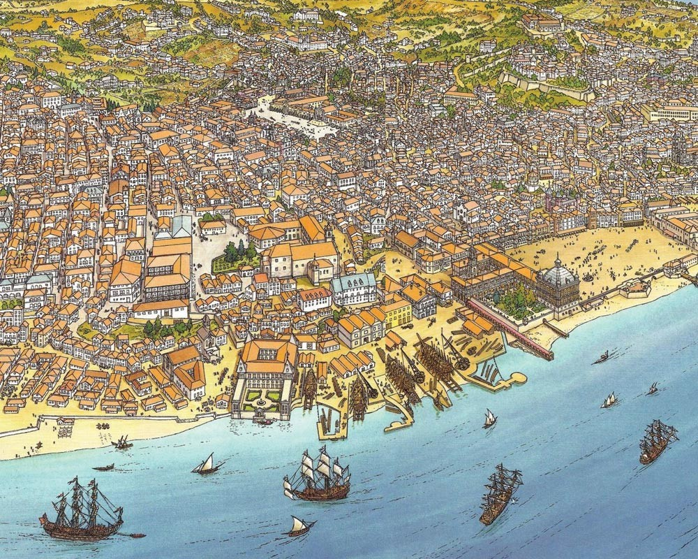 A map of Lisbon in the 18th century
