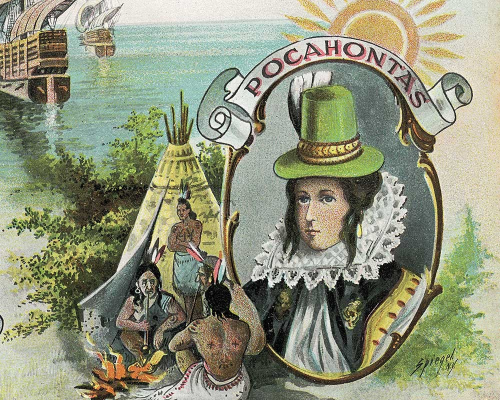 Detail of an 18th century postcard telling the story of Pocahontas