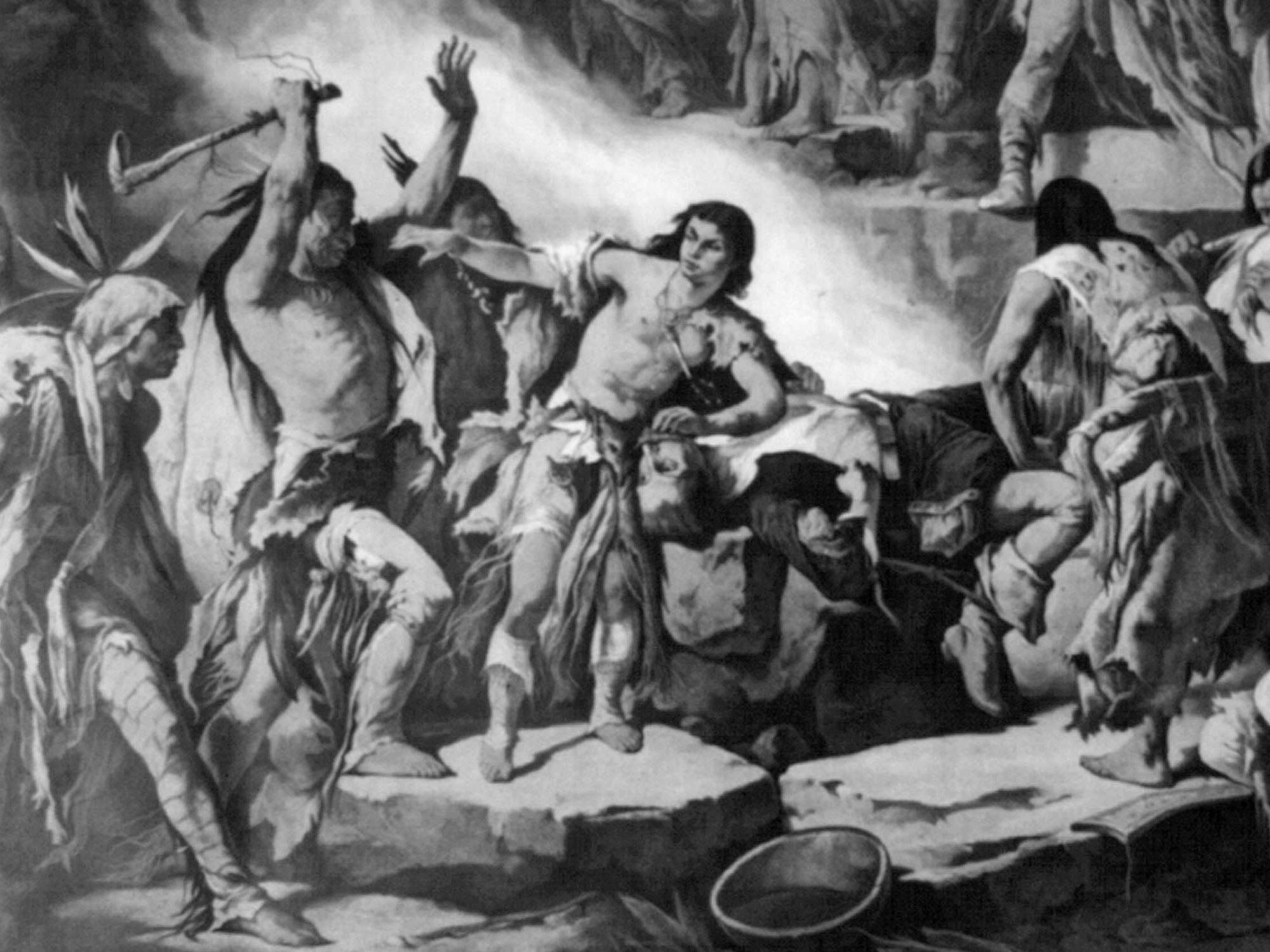 An illustration of Pocahontas saving the life of John Smith