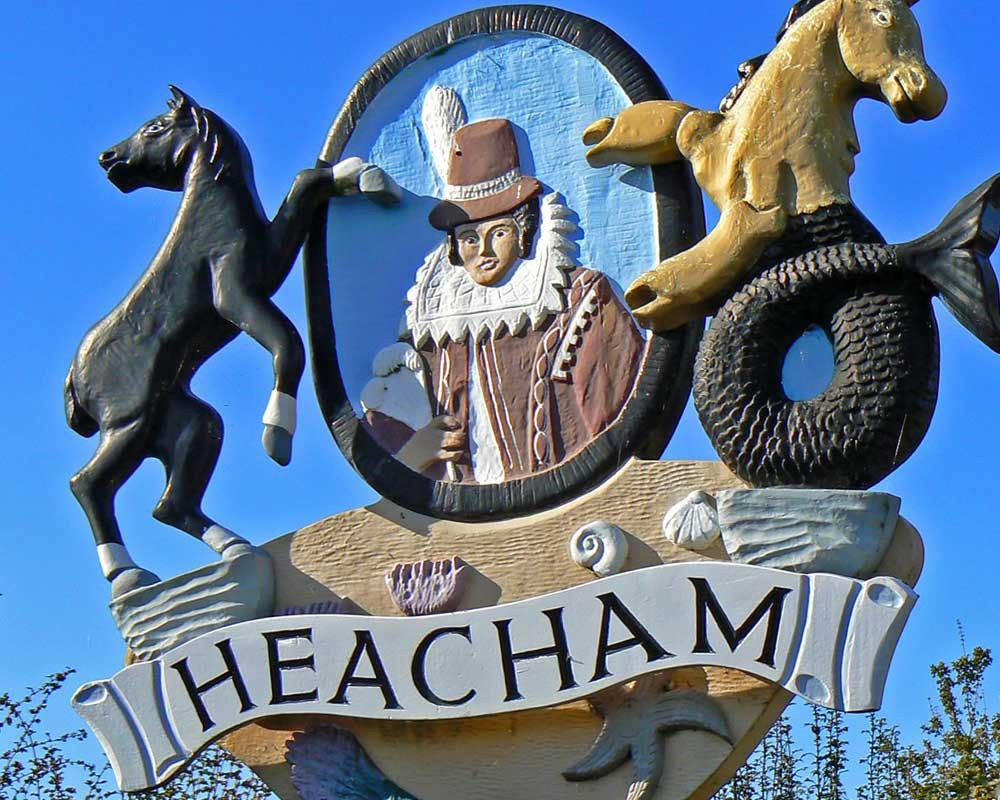 The village sign of Heacham featuring Pocahontas