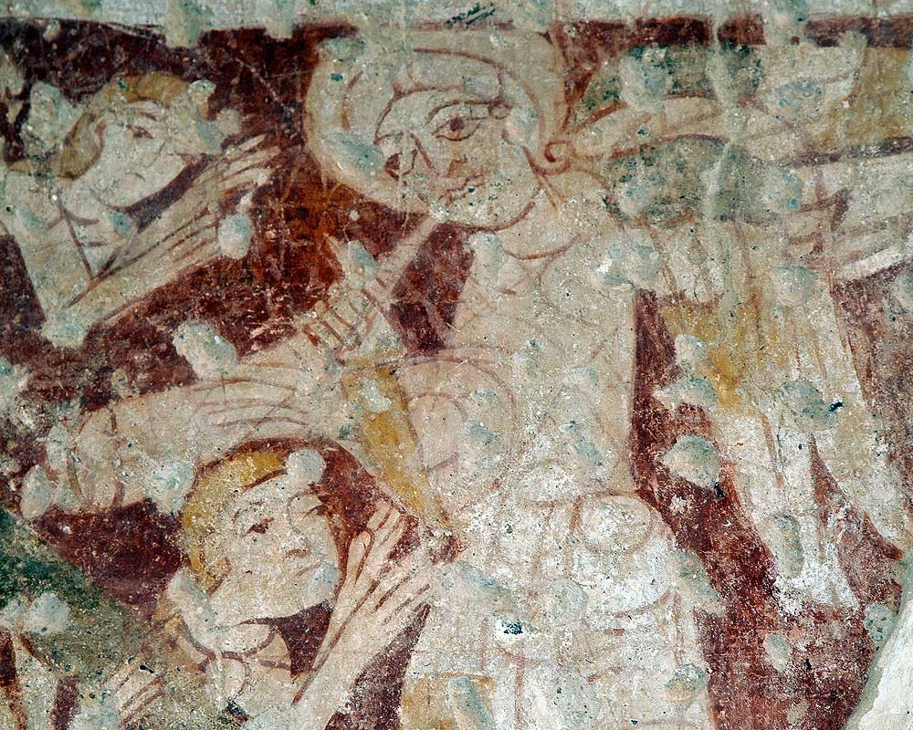 A detail of the extraordinary wall paintings inside the church of St Mary at Houghton-on-the-Hill