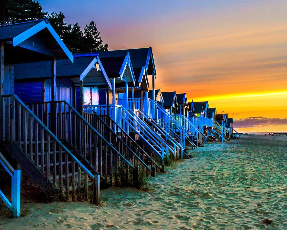 Wells-next-the-sea beach huts at sunset