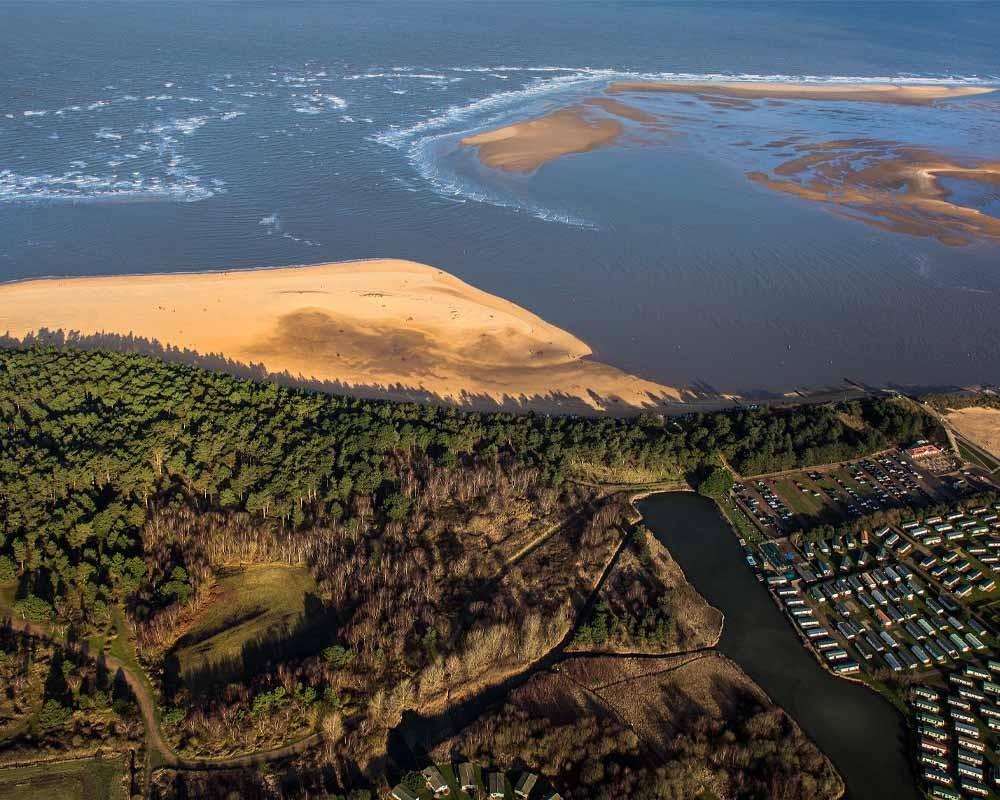 Wells-next-the-sea beach aerial shot